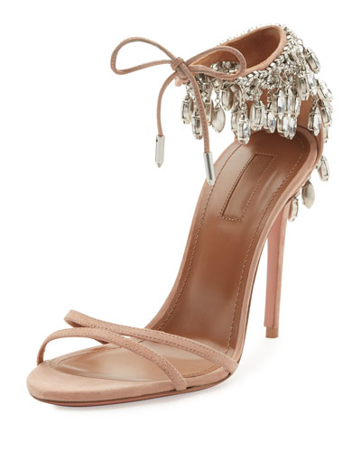 Eden Crystal-Embellished Sandal, Powder Pink