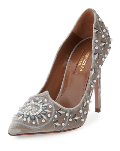 Stellar Pearly-Beaded Velvet Pump, Light Gray