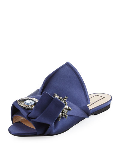 Crystal Eye Satin Flat Slide Sandal