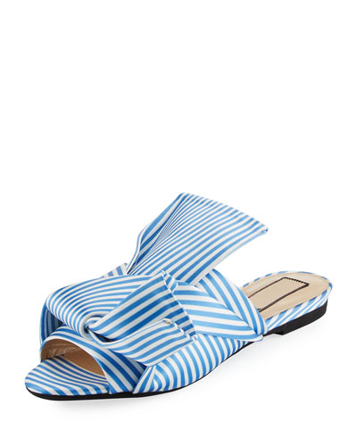 Striped Seersucker Satin Slide Sandal, White/Blue