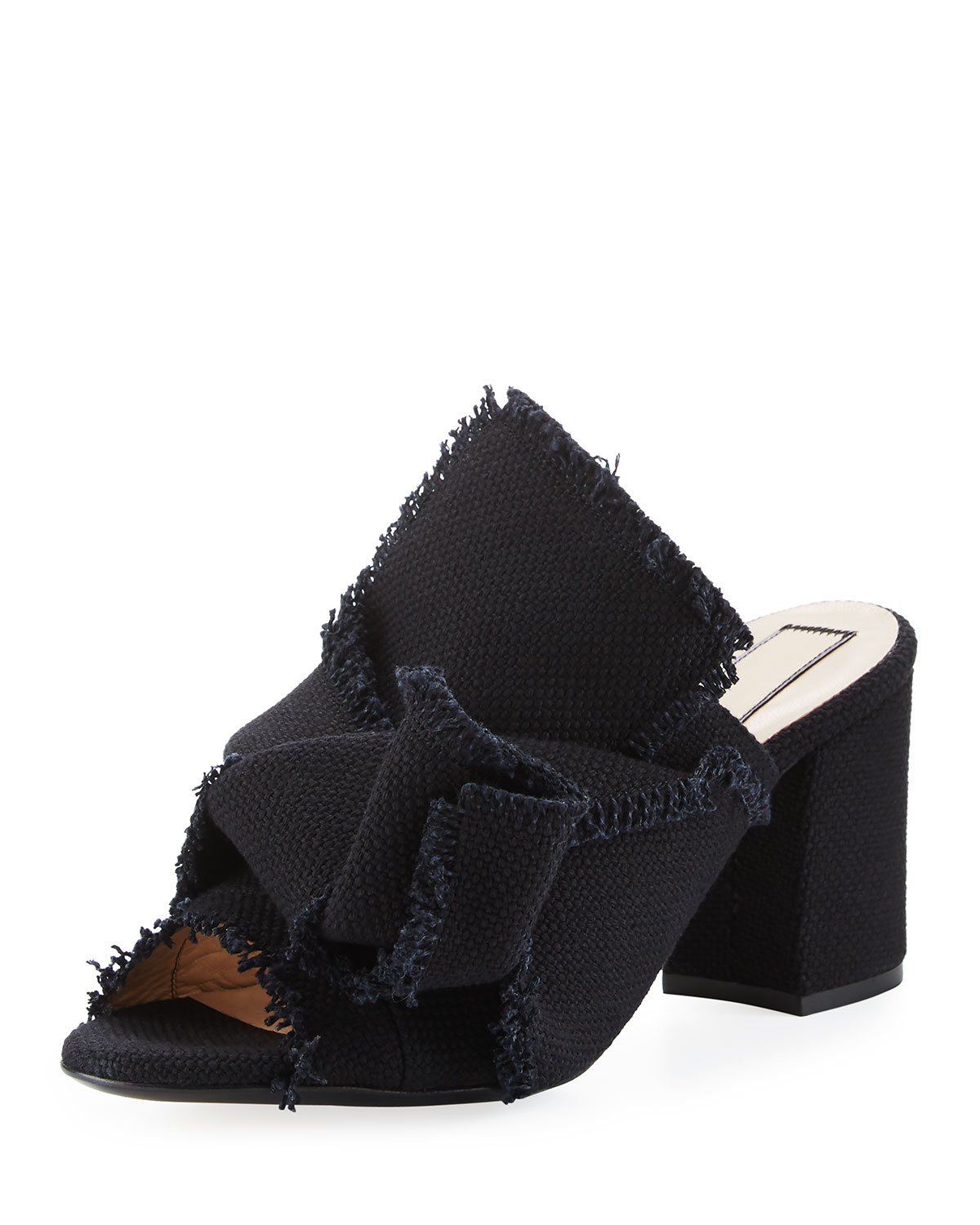 Frayed Canvas Block-Heel Mule Sandal, Black