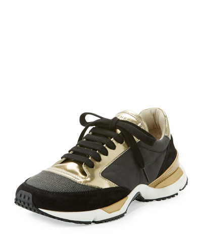 Monili-Trim Mixed-Media Sneaker, Black/Gold