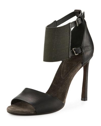 Leather Monili Ankle-Cuff Sandal, Black