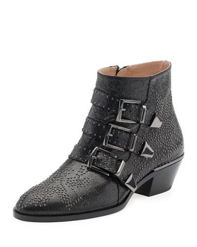Suzanna Studded Buckle Boot, Black