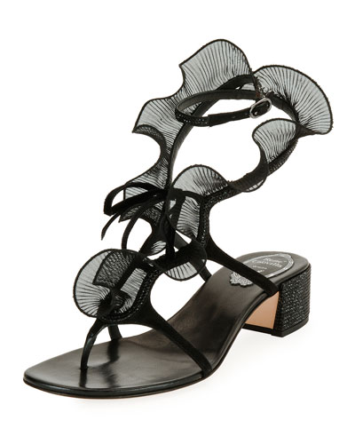 Ruffle Beaded Thong Sandal, Black/Multi