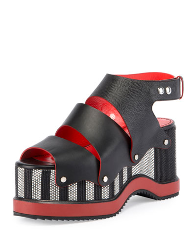 Striped Platform Leather Sandal, Black