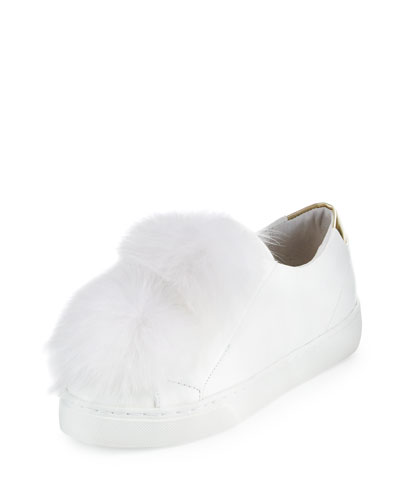 Sugar Fur Pompom Sneaker, White