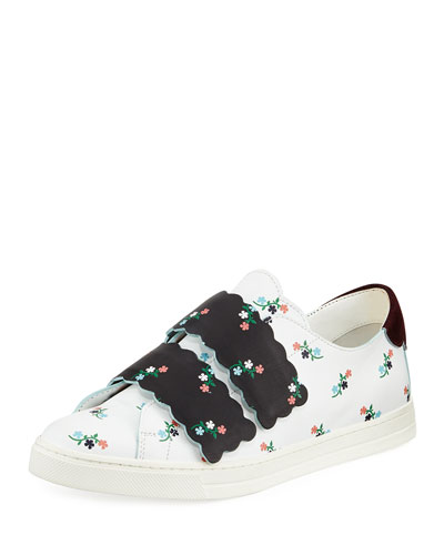 Scalloped Floral-Print Grip-Strap Sneaker, Multi