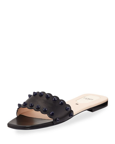 Scalloped Leather Flat Slide Sandal, Black