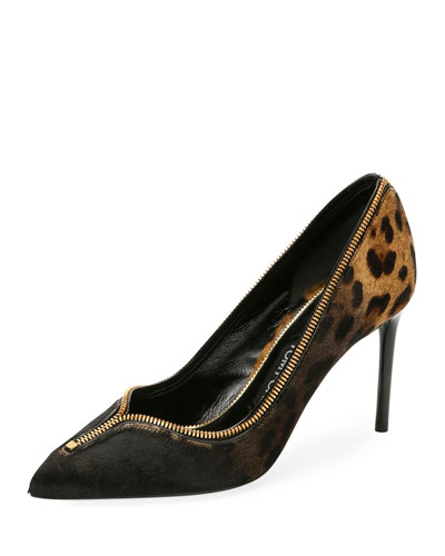 Leopard-Print Fur Zipper Pump, Black