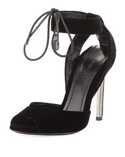 Velvet Tie-Front Sandal