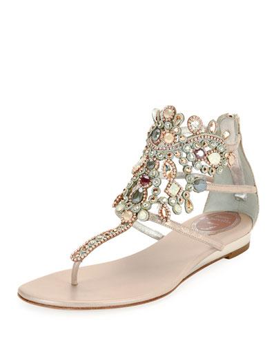 Jeweled Snakeskin Flat Thong Sandal, Gray Pattern