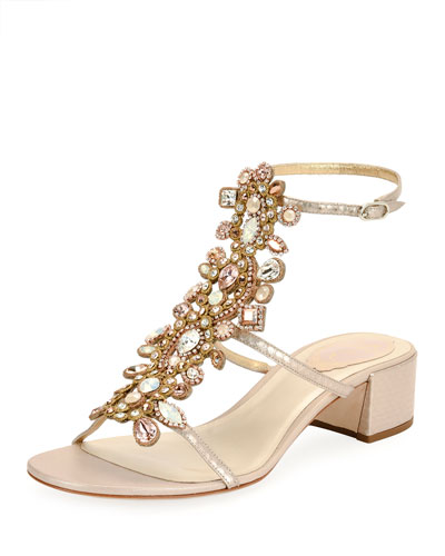 Crystal-Embellished Snakeskin City Sandal, White Pattern