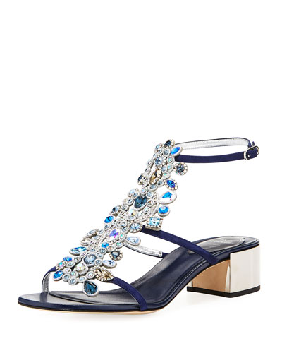 Crystal Jeweled Block-Heel Sandal, Blue
