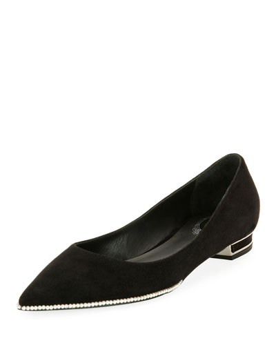 Pearly-Trim Suede Skimmer Flat, Black Pattern