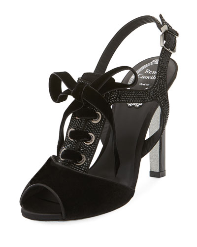 Crystal-Trim Lace-Up Velvet Sandal, Black