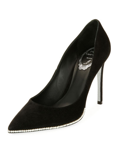 Pearly-Trim Suede 100mm Pump, Black Pattern