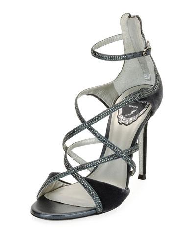 Strappy Crystal-Embellished Velvet Sandal, Gray Pattern