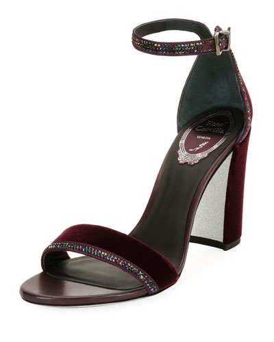 Crystal-Trim Velvet Block-Heel Sandal, Purple Pattern
