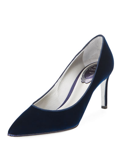Crystal-Trim Velvet 75mm Pump, Blue