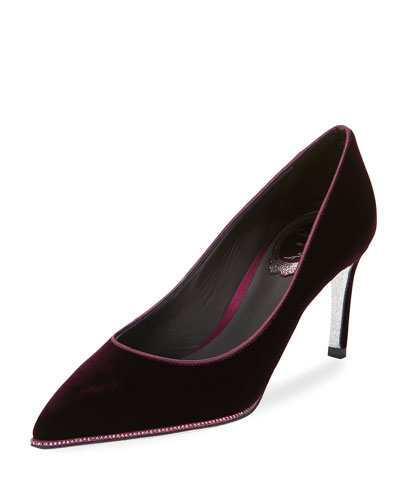 Crystal-Trim Velvet 75mm Pump, Purple