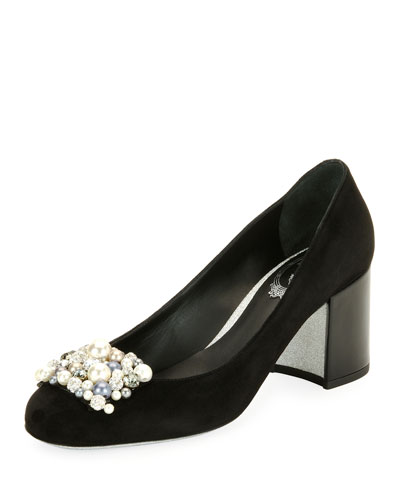 Pearly-Beaded Suede Block-Heel Pump, Black Pattern