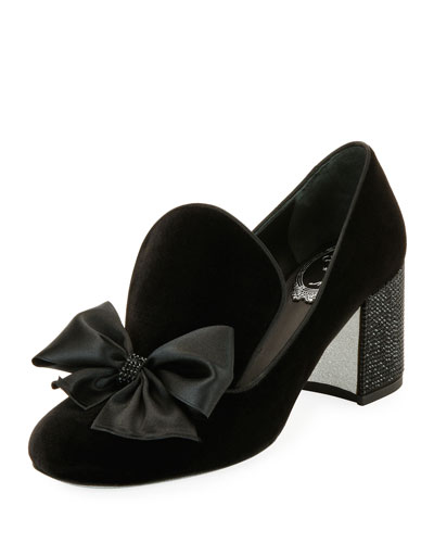 Velvet Bow Block-Heel Loafer, Black Pattern