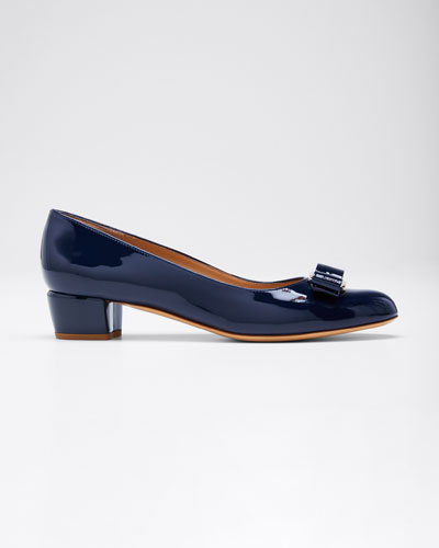 Patent Bow Pumps, Oxford Blue