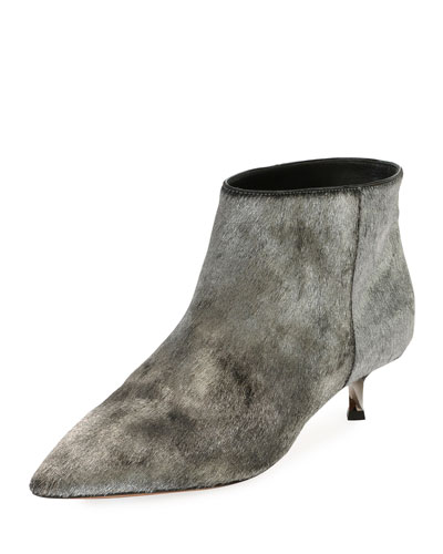 Twist Heel Low Fur Ankle Boot, Silver
