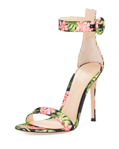 Floral-Print Ankle-Strap Sandals, Red