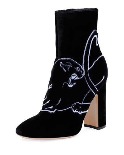 Panther-Embroidered Velvet Boot, Black