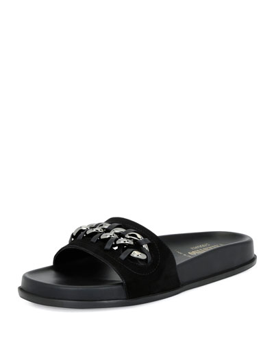 Chain-Trim Suede Pool Slide Sandal, Black