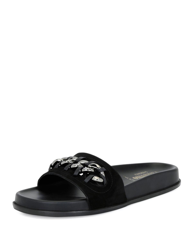 Chain-Trim Suede Pool Slide Sandal, Black