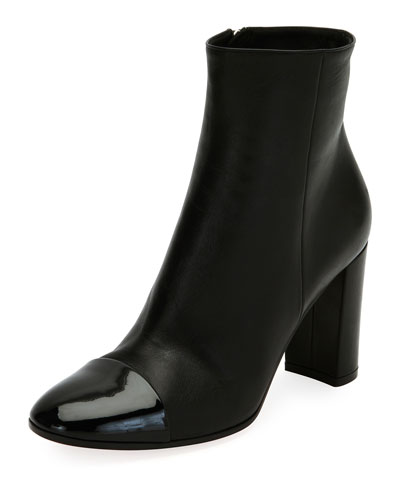Langley 85 Patent Cap-Toe Leather Boot, Black
