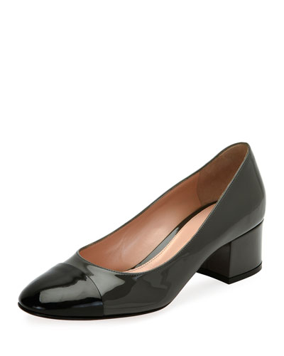 Patent Cap-Toe Block-Heel Pump, Black/Blue
