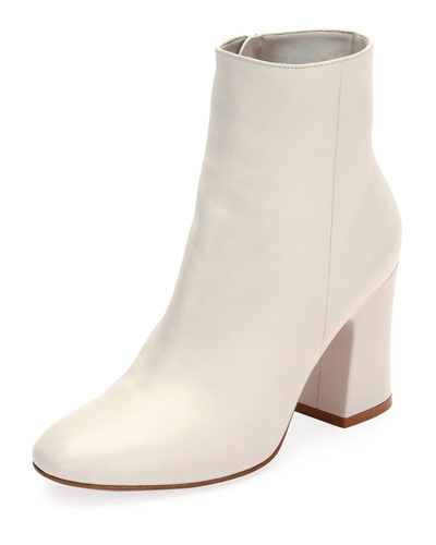 Shelly 85 Napa Leather Block-Heel Boot, White