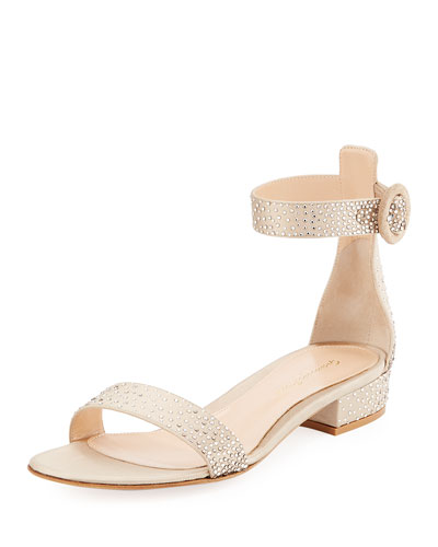 Crystal-Embellished Silk 25mm Sandal