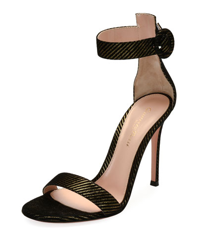 Portofino 105 Striped Suede Sandal, Black/Gold