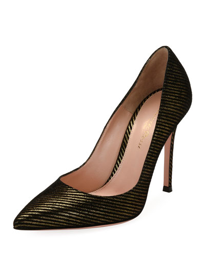 Gianvito 105 Striped Metallic Fabric 105mm Pump, Gold/Black