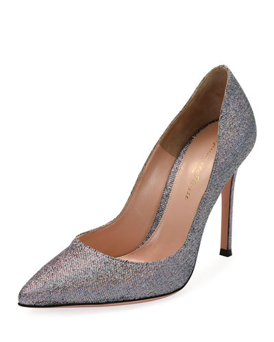 Gianvito 105 Metallic Fabric 105mm Pump, Silver