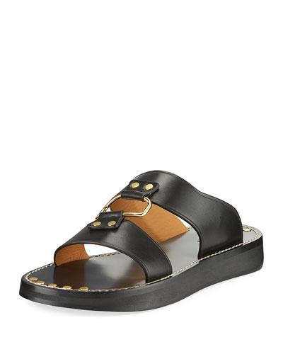 Narryl Two-Band Leather Slide Sandal