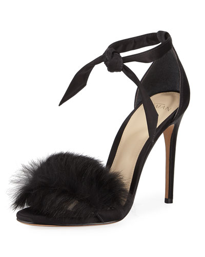 Clarita Rabbit Fur Sandal, Black