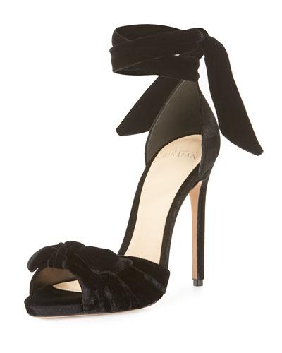 Ruched Velvet Ankle-Tie Sandal, Black