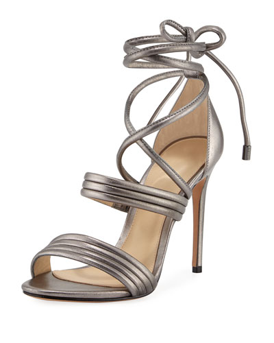 Isis Metallic Ankle-Wrap Sandal, Gray