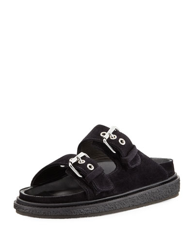 Ledkin Double-Buckle Slide Sandal, Black