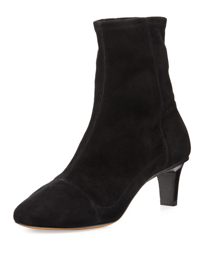 Daevel Seamed Suede Ankle Boot, Black