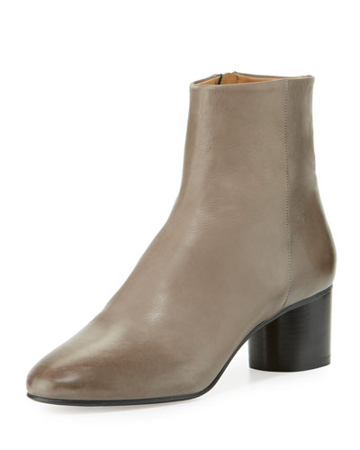 Danay Burnished Leather Ankle Boot, Gray