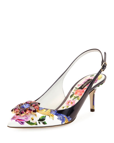 Jeweled Floral-Print Slingback Pump, Multi