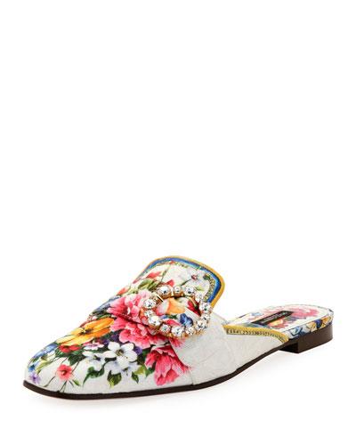 Floral-Print Corduroy Loafer Mule Flat, Multi