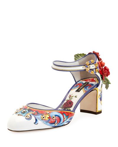 Floral-Embellished Mary Jane Pump, Multi